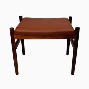 Danish Rosewood & Leather Ottoman by Spøttrup, 1960s