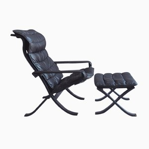 Vintage Relax Folding Easy Chair with Ottoman by Ingmar Relling for Westnofa