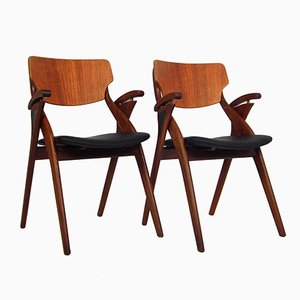 Danish Dining Chairs by Arne Hovmand Olsen for Mogens Kold, 1950s, Set of 2