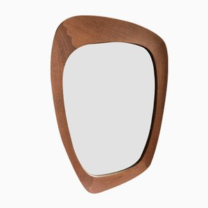 Oak Wall Mirror by Östen & Uno Kristiansson for Luxus, 1950s