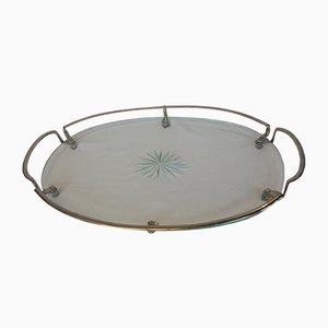 Mid-Century Oval Glass Tray with Chrome Handles