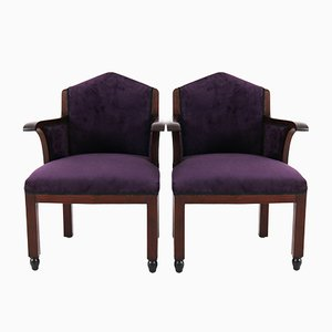 Art Deco Mahogany Club Chairs from Fa. Drilling, 1920s, Set of 2