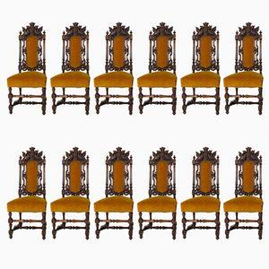 Handgeschnitzte Renaissance Revival Stühle aus Eiche mit Kronen, 1880er, 12er Set