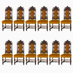 Renaissance Revival Hand-Carved Oak Chairs with Crowns, 1880s, Set of 12