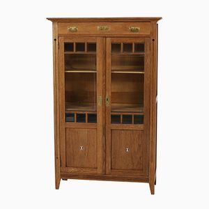 Dutch Art Nouveau Oak Bookcase with Inlay, 1900s