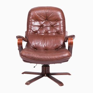 Vintage Swivel Leather Armchair, 1970s