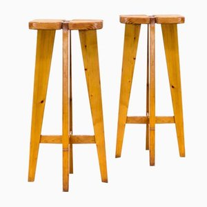 Vintage Pine Stools by Lisa Johansson Pape for Stockmann, Set of 2