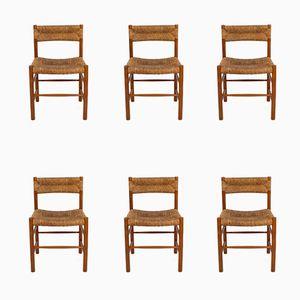 Dordogne Stühle von Charlotte Perriand für Robert Sentou, 1950er, 6er Set