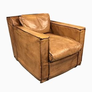 Mid-Century Cognac Buffalo Leather Armchair