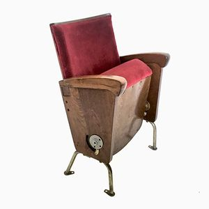 Red Velvet Cinema Seat from Ascol, 1950s