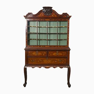Antique Dutch Marquetry Display Cabinet, 1780s