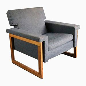 Danish Grey Wool Armchair with Beech Frame, 1970s
