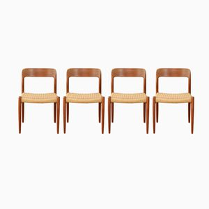 Vintage Model 75 Dining Chairs by Niels O. Møller for J.L. Møllers, Set of 4