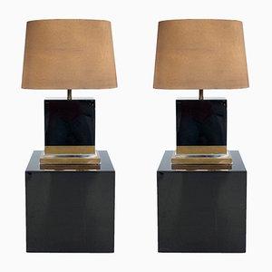 Schwarz Lackierte Lampen von Jean-Claude Mahey, 1970er, 2er Set