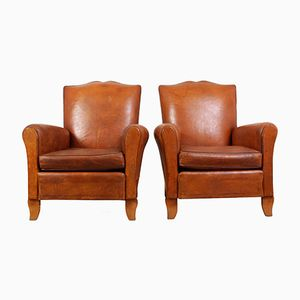 French Leather Club Chairs, 1950s, Set of 2
