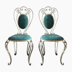Goldfarbene Vintage Stühle aus Eisen, 2er Set