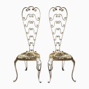 Goldfarbene Vintage Stühle mit Hohen Rückenlehnen von Pier Luigi Colli, 2er Set