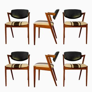 Mid-Century Model 42 Teak Dining Chairs by Kai Kristiansen, Set of 6