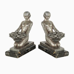 French Art Deco Metal Bookends by Max Le Verrier, 1920s