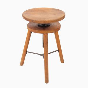 Vintage Beech Swivel Stool