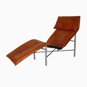 Schwedischer Chaise Longue aus Cognacfarbenem Leder von Tord Bjorklund, 1970er