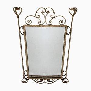 Spiegel aus Vergoldetem Schmiedeeisen, 1950er