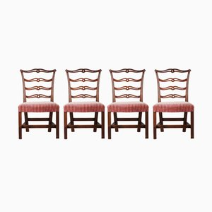 Carved Mahogany Ribbon-Back Side Chairs, 1870s, Set of 4