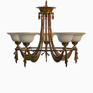 Vintage 5-arm Chandelier in Solid Brass from Bejorama