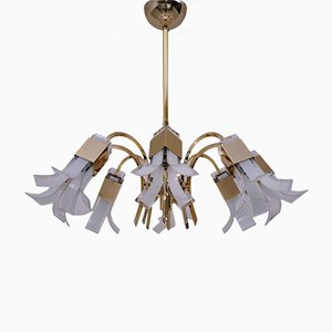 Gold Chandelier with Glass Petals by Gaetano Sciolari, 1970s