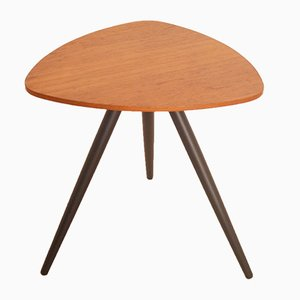 Vintage Scandinavian Tripod Side Table in Teak