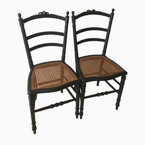 Vintage Stühle mit Sitzen aus Schilfrohr, 2er Set