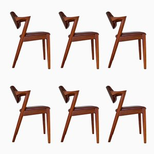 42 Leather and Teak Dining Chairs by Kai Kristiansen for Schou Andersen, 1950s, Set of 6