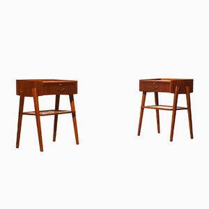 Teak and Brass Bedside Tables, 1960s, Set of 2