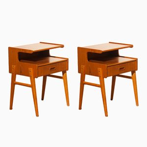 C-Shaped Bedside Tables in Teak, 1960s, Set of 2