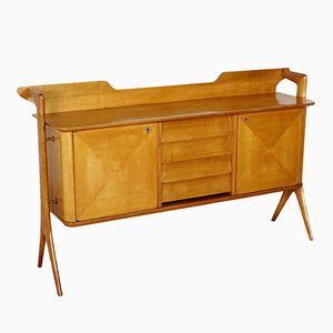 Sideboard in Cherry Veneer with Brass Spacers, 1950s