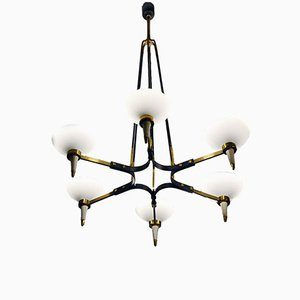 6-Light Chandelier in Brass and Blown Satin Glass from Arredoluce, 1950s