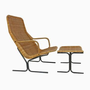 Vintage 514 Wicker Lounge Chair with Ottoman by Dirk Van Sliedrecht for Rohé Noordwolde