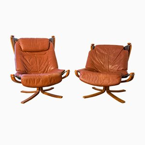 Cognac Falcon Chairs by Sigurd Ressell for Vatne, 1970s, Set of 2