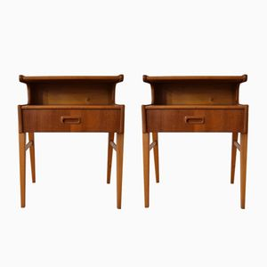 Danish Teak & Beech Nightstands, 1960s, Set of 2