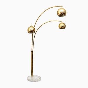 Brass Arc Lamp with Marble Base, 1960s