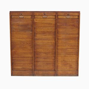 Triple Oak Tambour Front Haberdashery Cabinet, 1940s