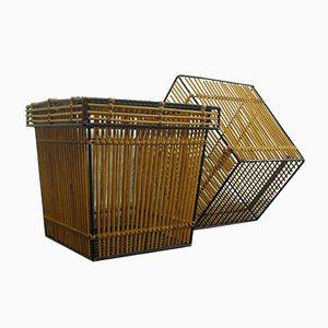Dutch Rattan & Steel Baskets from Rohé Noordwolde, 1950s, Set of 2