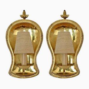 German Brass Sconces, 1960s, Set of 2