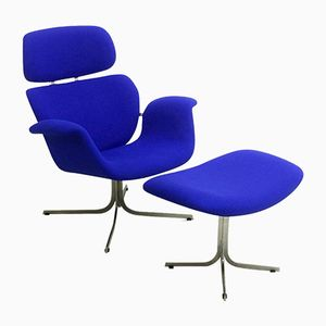 Blue Big Tulip Lounge Chair & Ottoman by Pierre Paulin for Artifort, 1965