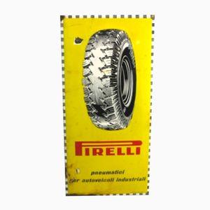 Insegna della Pirelli vintage smaltata di Smalteria Perego Trezzo, anni '50