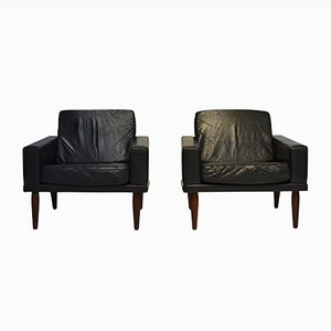 Black Leather and Rosewood Lounge Chairs from Bovenkamp, 1960s, Set of 2