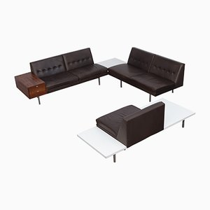 Modular Lounge System in Dark Brown Leather by George Nelson, 1950s