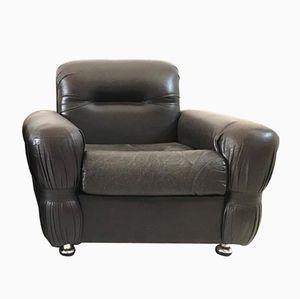 Italian Art Deco Leather Armchair, 1970s