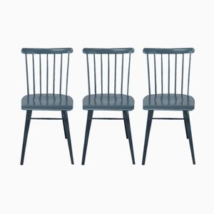 Vintage Anthracite Gray Pinnstolar Chairs, Set of 3