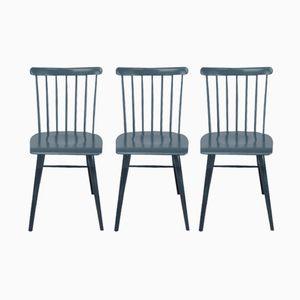 Vintage Pinnstolar Stühle in Anthrazit, 3er Set